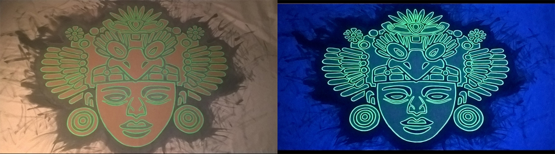 tenture fluorescent masque aztèque