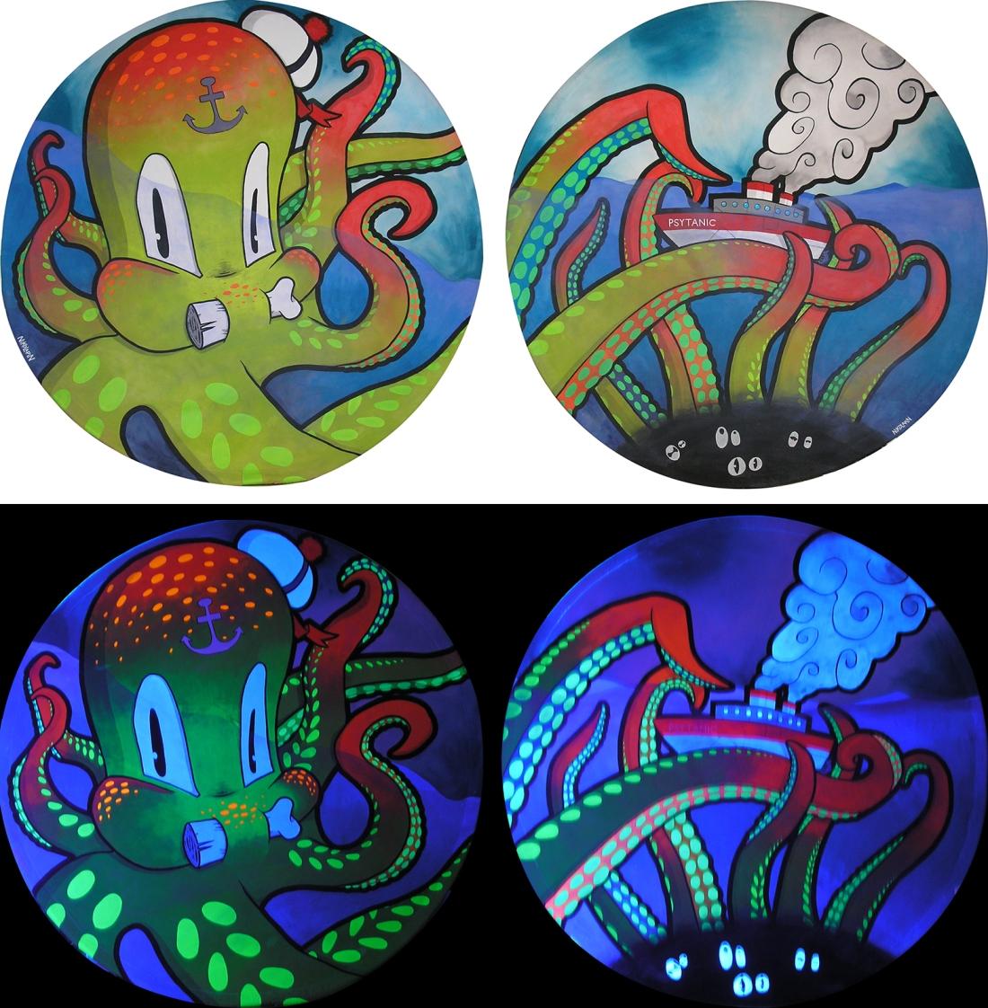 Peinture fluorescente d'un octopus avec le psytanic