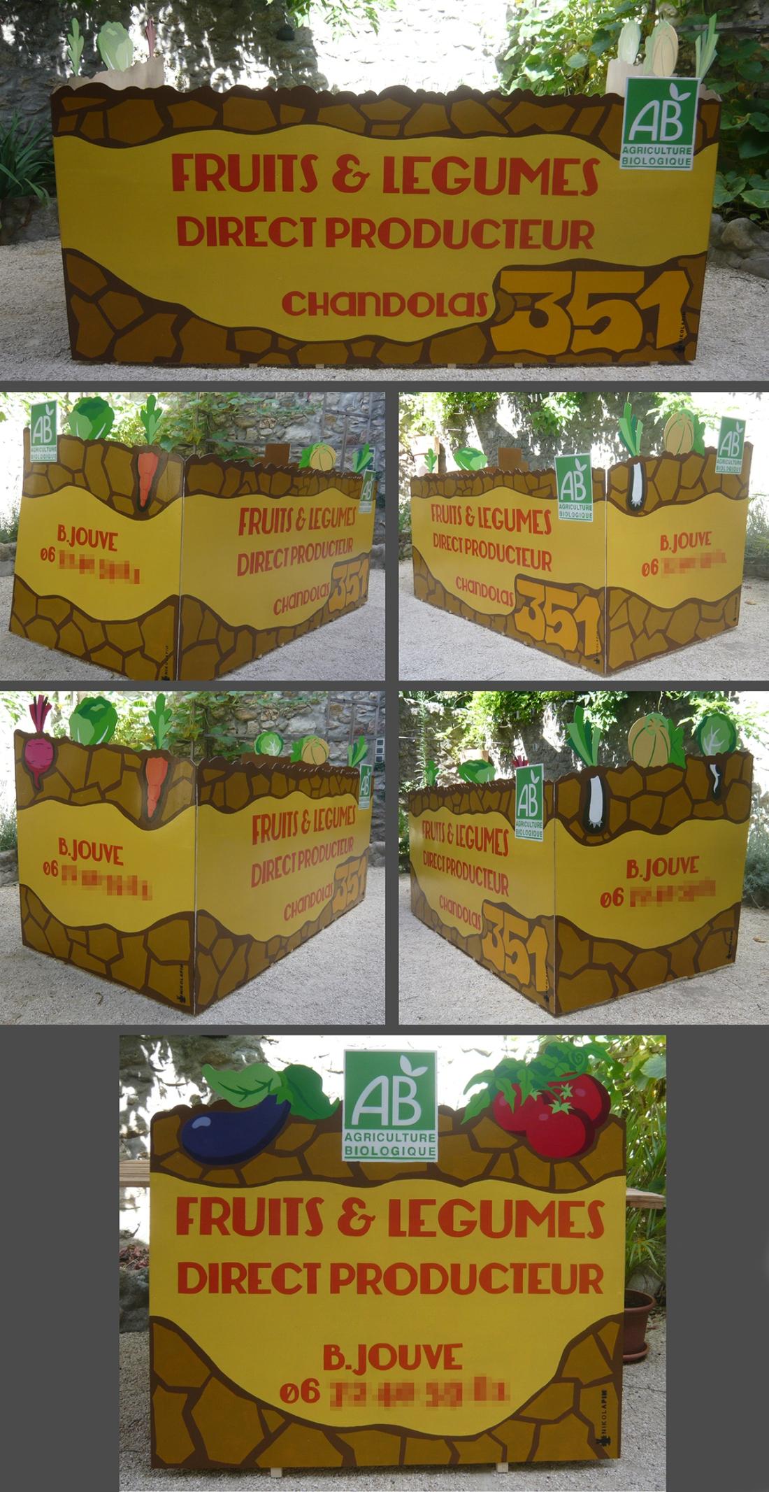 stand marché maraicher peinture bois
